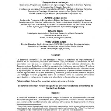 SOBERANÍA ALIMENTARIA: REFLEXIONES A PARTIR DE DIFERENTES SISTEMAS ALIMENTARIOS DE SANTA CRUZ, BOLIVIA