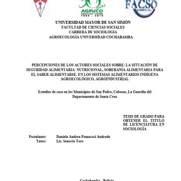 PERCEPCIONES DE LOS ACTORES SOCIALES SOBRE: LA SITUACIÓN DE SEGURIDAD ALIMENTARIA  NUTRICIONAL, SOBERANÍA ALIMENTARIA PARA EL SABER ALIMENTARSE. EN LOS SISTEMAS ALIMENTARIOS INDÍGENA AGROECOLÓGICO, AGROINDUSTRIAL