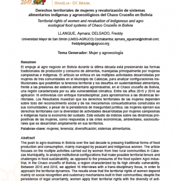 Derechos Territoriales de las Mujeres y Revalorizacion de Sistemas Alimentarios y Agroecologicos del Chaco Cruceño de Bolivia