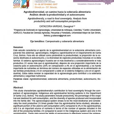 Agrobiodiversidad, Un Camino Hacia la Soberania Alimentaria. Analisis desde la Productividad y el Autoconsumo