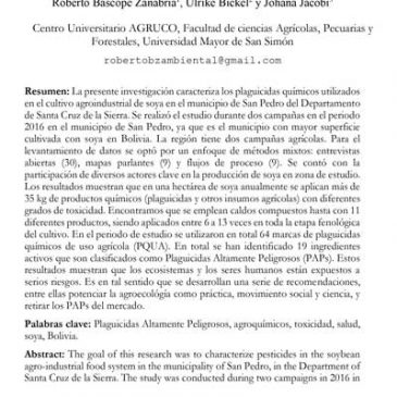Art. Científico «Plaguicidas químicos usados en el cultivo de soya en el Departamento de Santa Cruz, Bolivia: riesgos para la salud humana y toxicidad ambiental»