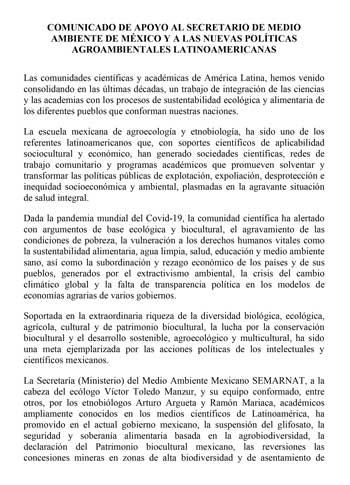Carta de respaldo a la labor de la Secretaría del Medio Ambiente Mexicano (SEMARNAT) y las nuevas políticas agroambientales latinoamericanas