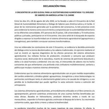 DECLARACIÓN DEL II ENCUENTRO DE LA RED GLOCAL DE SUSTENTABILIDAD ALIMENTARIA Y DIÁLOGO DE SABERES PARA AMÉRICA LATINA Y EL CARIBE